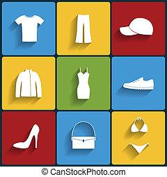 ropa, plano, vector, conjunto, iconos