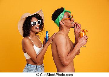 ropa, retrato, alegre, africano, pareja, verano, joven