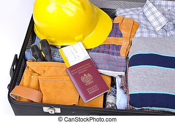 ropa, trabajador, maleta