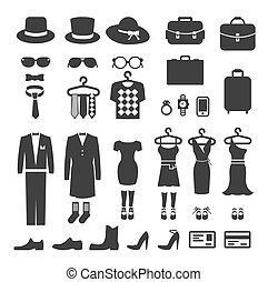 ropa, vector, compras, tienda, icono