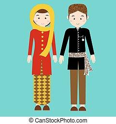 ropa, vector, indonesia, betawi, tela, yakarta, étnico, tradicional, pakaian, adat, pareja