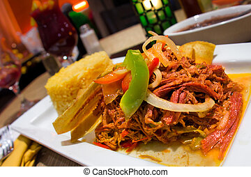 Ropa Vieja - Traditional Spanish meal of shredded beef Ropa...