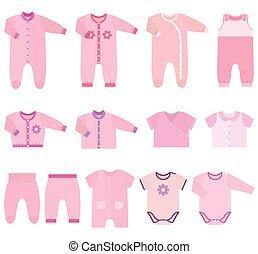 ropas del bebé, vector, niñas, iconos