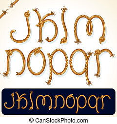 Rope Alphabet 2 - Detailed Rope alphabet for your text or...