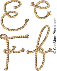 Rope Alphabet. vector illustration