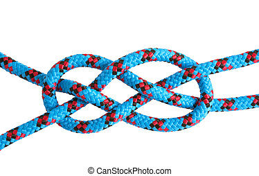 Rope and knots sheet bend on white background