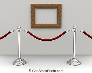 Rope barrier - A red rope barrier and an empty picture frame...