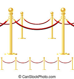 Seamless gold fence with red rope isolated on white