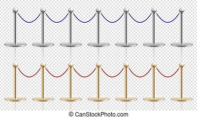 Rope barrier. Realistic silver gold steel stands with velvet cords. Festival or theater, cinema or musium entrance stanchion. Crowd control vector illustration. Cinema entrance, gallery and museum