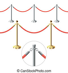Rope barrier. Seamless vector.