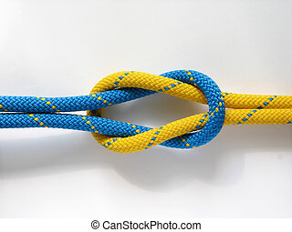 Rope blue knot yellow - Yellow rope blue knot super