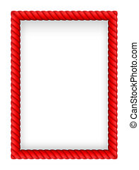 Rope Border - Red Rope Border. Illustration on white...