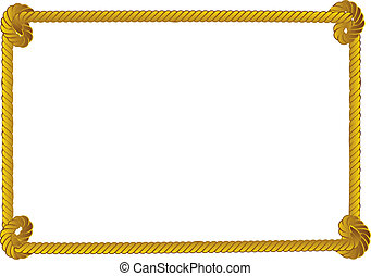 Rope border - Yellow rope frame, border on white background.