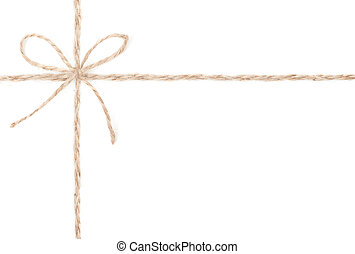 Rope bow. Jute wrapping for present. Close up.