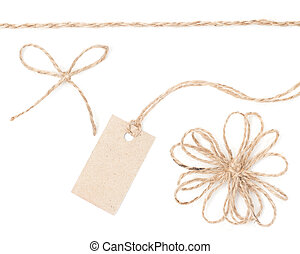 Rope bow tag. Jute wrapping collection for present and pricing. Close up.