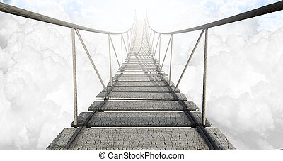A rope bridge made of wooden planks held together by rope and secured by wooden pegs above the clouds in the heavens