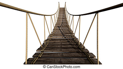 A rope bridge made of wooden planks held together by rope and secured by wooden pegs on an isolated background