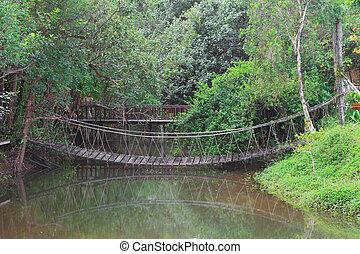 Rope bridge in a park