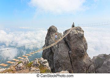 Rope bridge over the chasm - Rope bridge over the precipice...