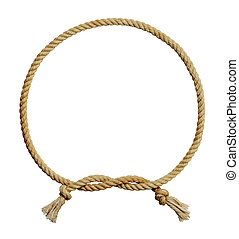 Rope Circle Knot - Old Dirty Rope Circle Frame Isolated on...