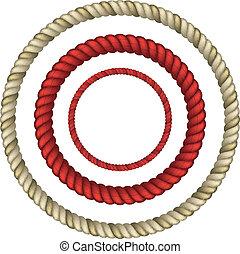 Rope circular - set of Circular rope. realistic vector eps10