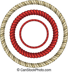 Rope circular - set of Circular rope. realistic vector eps10