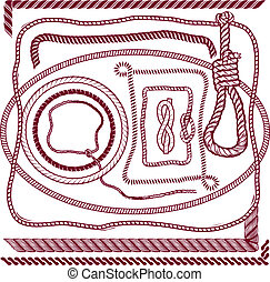 A clip art collection of various types of rope