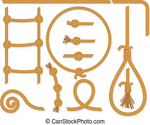 Rope Collection - Vector twisted rope collection, gallows,...