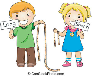 Rope Comparison - Illustration of Kids Comparing Ropes