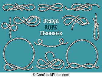Set of Rope Design elements. Drawn in vintage style. Knots and Loops. Only free font used.