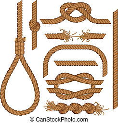 Set of seamless Rope elements - easy editable colors without gradients gallows, ladder, cable, lasso, knots, loop, spiral etc..