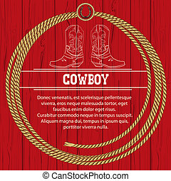 rope., fond, américain, cowboy charge
