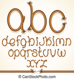 Rope Font. Set of Alphabet Letters from String