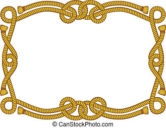 rope frame isolated on white - vector frame from rope...