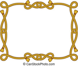 rope frame isolated on white - vector frame from rope ...