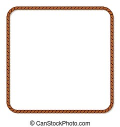 Rope frame , Rope frame on White Background.