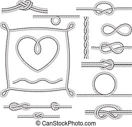 Rope frames and knots - borders and corners