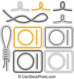 Rope frames, four styles - Rope frames and knots isolated on...