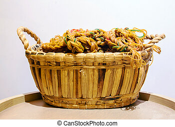 rope from circle rubber in the rattan basket on wood circle table