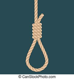 Rope hanging loop. Noose with hangmans knot. Suicide Death penalty
