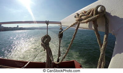 Rope in ferryboat and sea