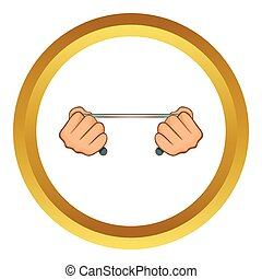 Rope in hands vector icon