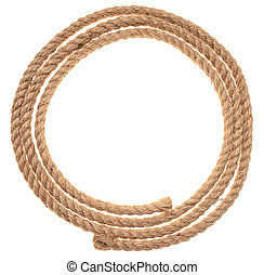 rope is rolled up in shape of circle isolated on white background, close up