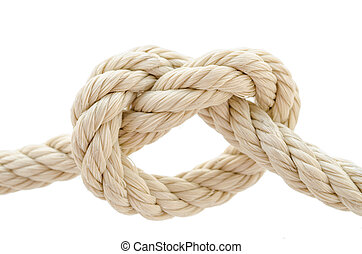 Rope knot on white background.