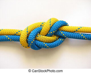 Rope knot - Yellow rope blue knot super