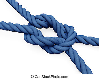 Rope knot - Two blue ropes connected by a node with white ...