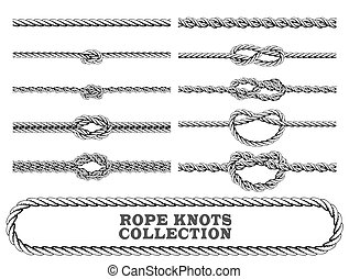 Rope knots collection. Overhand, Figure of eight and square...