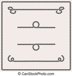 Rope knots collection. Rope swirls, logos and badges. Vector illustration. Marine rope knot. Vector Rope. Set of nautical rope knots, corners and frames. Decorative elements in nautical style.