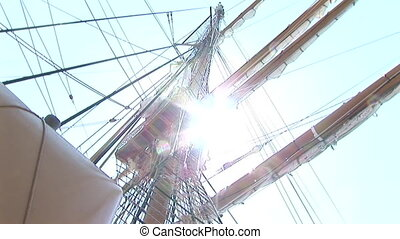 Rope ladder of a sailing ship - Seaman descending a rope...