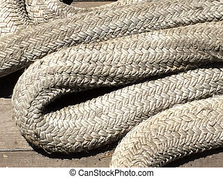 Rope large braided mooring line for ships boat background element